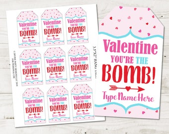 """INSTANT DOWNLOAD Printable Valentine's Day 3.5""""x2"""" You're the Bomb Hang Tags /  Editable - You Type Name / Teacher Gift / Item #3107"""