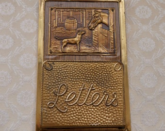 Brass Letter Holder, For Wall, Horse And Dog, Decorative Brass, Vintage Letter Rack, Gift Horse Lover, Brass And Wood, Retro Home Decor