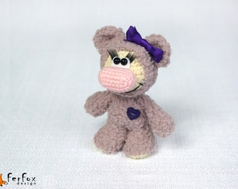 Teddy Bear plush, teddy bear, woodland plush, crochet animal, stuffed bear, softie bear - Viola the Girl-bear
