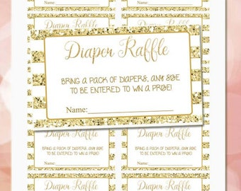 Diaper Raffle tickets printable baby shower, White and Gold glitter diaper raffle, gender neutral, Digital File.