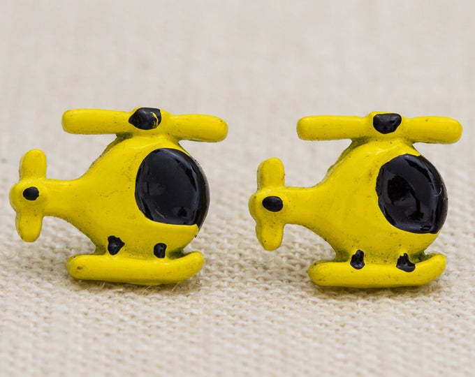 Vintage Yellow Helicopter Earrings Stud Chopper Pierced Emoji Earings Studs Tiny Minimalist 7TU