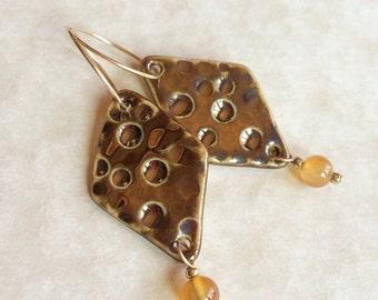 Porcelain and Carnelian Earrings, Brassy Glazed Earrings, Porcelain Earrings, Dangle Earrings, Carnelian Earrings, Gift for woman, Handmade