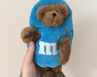 1990s M&Ms blue teddy bear plush