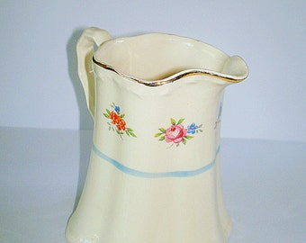 Crooksville Creamer Small Pitcher Vintage China Ivory Color Blue Band Trim with Floral Transfers Scalloped Rim Made in USA