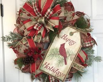 cardinal wreath, Christmas cardinal wreath, Christmas wreath, christmas tree wreath, burlap christmas wreath, rustic wreath