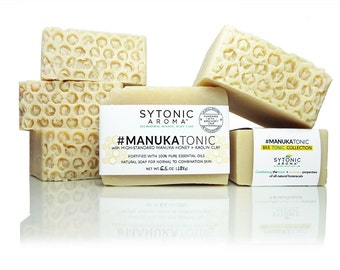 MANUKA HONEY SOAP - Manuka Honey + Kaolin Clay (6.1 to 6.5 oz) - All Natural, Handmade, Cold Process, Essential Oil Soap