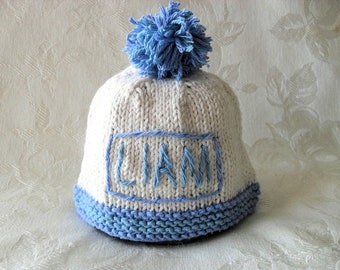 Baby Hat Knitting Knit Baby Hat Knitted baby hat Personalized Baby Boy Name Hat Beanie Knitted cotton knitted  baby hat Baby Boy Beanie