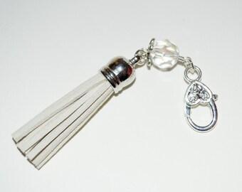 Cream Tassel Keyring, Boho Bag Charm, Tassel Key Charm, Zipper Pull, Purse Charm, Cream Boho Tassel, Purse Clip, Bag Charm, Tassel Zip Pull