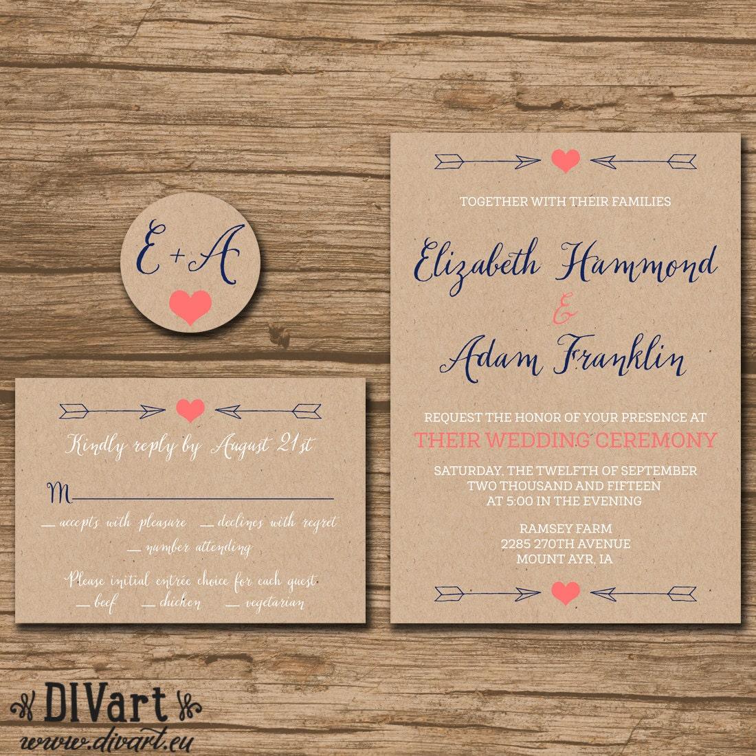 Rustic Wedding Invitation Suite Response Card Monogram