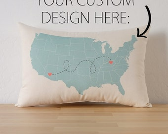 Personalized State to State USA Map Cotton Canvas Pillow - USA Map Pillow - Going Away Gift - Long Distance Relationship - Mother's Day Gift