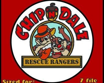 Chip and Dale Rescue Rangers Large - Machine Embroidery File Download Digital Download