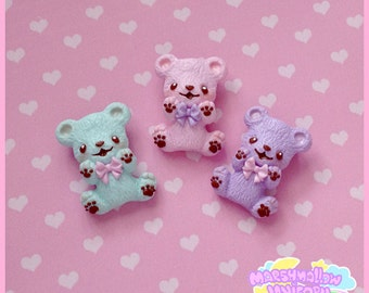 Marshmallow bear brooch cute and kawaii pastel colors