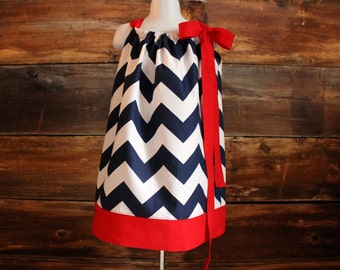 4th of July Dress - Newborn baby toddler child infant girls navy chevron pillowcase dress USA Independence Day Fourth of July summer