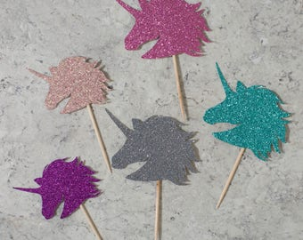 Unicorn head cupcake toppers; Birthday party
