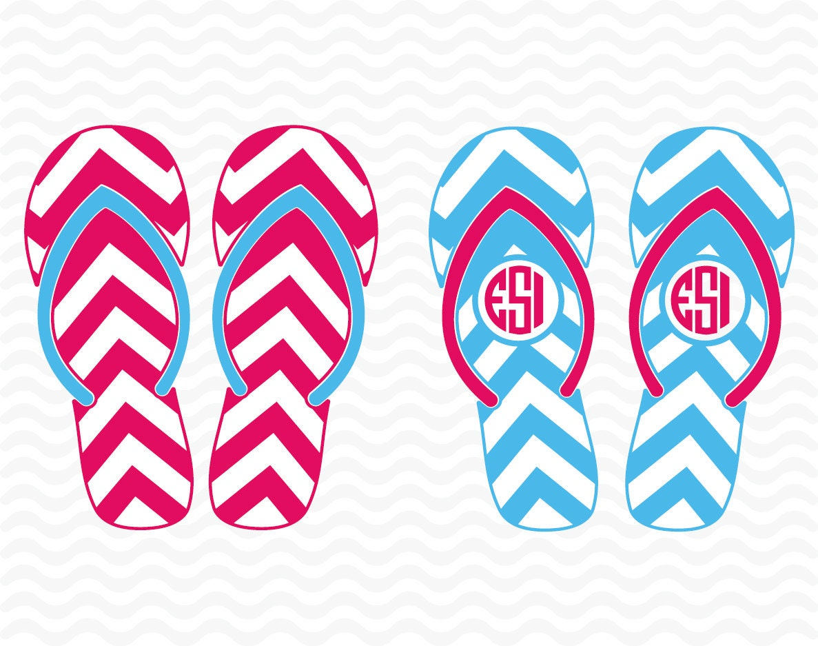 Flip flop SVG, DXF, EPS, Circle monogram frames, Chevron pattern ...