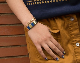 Bracelet manchette NOVA - tissage en coton en bleu canard
