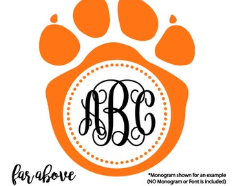 Paw Print Monogram Frame (monogram NOT included) - SVG, DXF, png, jpg digital cut file for Silhouette or Cricut Panthers Wolverines