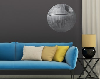 Large Death Star Printed Wall Decal | star wars wall art darth vader star wars gift large wall art kids wall art space ship scifi