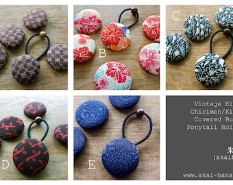 10 of Vintage Kimono/Chirimen/Kinran Covered Button Ponytail Holders, Mix & Much from many different designs