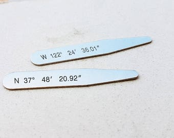 Personalized Collar Stays - Latitude longitude collar stays for you with your own coordinates Father's Day gift-gift for him C6