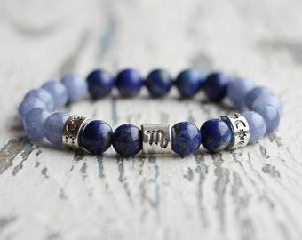 scorpio zodiac bracelet blue beads jewellery scorpio bracelet birthday gift astrology women scorpio gifts zodiac sign aquamarine birthstone