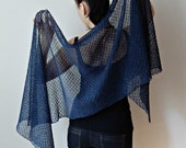 Knit navy shawl summer linen scarf knit lace shawl navy wedding linen knits wraps shawls knit scarf wedding scarf Mother of groom gift
