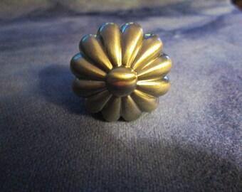 Polished silver tone drawer knob