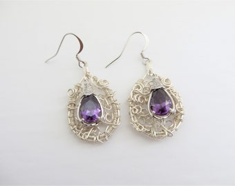 Wire Woven Earrings, CZ Crystal  Purple Earrings, Wire Wrapped Jewelry, Silver Earrings, Crystal Earrings, Hand Crafted Earrings