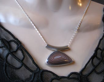 Banded Agate Necklace- Silver, Metalwork