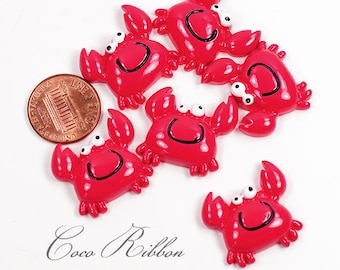 12 Pieces Red 24mm Smile Red Sea Crab Aquatic Flatback Resin Cabochons C14