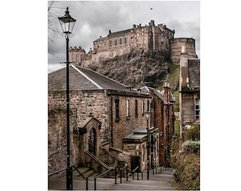 "Edinburgh Photography, Historic City, Scotland Photography, Medieval City, Fine Art Print, ""Edinburgh Castle from The Vennel Steps, Color"""