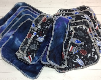 Spaceship -Flannel Wipes - Cloth diaper wipes - Reusable baby wipes- Family Cloth