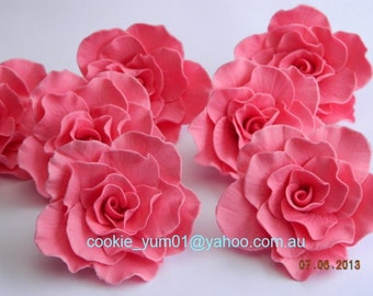6 edible LARGE ROSES 7cm cupcake cake topper decorations blossom flower WEDDING anniversary birthday 16th 18th 21st engagement baby shower