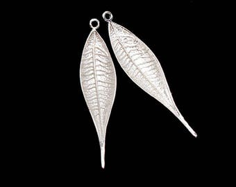 2 of 925 Sterling Silver Leaf Pendants  9x38mm.  :th2603