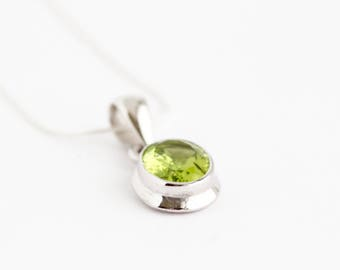 Peridot Necklace - Sterling Silver Necklace - August Birthstone Pendant - August Birthday Gift - Gift For Woman - Peridot Jewelry