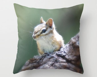 Chipmunk Pillow, Throw Pillow, Cabin Decor