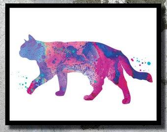 Purple Cat watercolor print Cat Poster Cat painting Cat home decor Cat birthday gift Cat wall decor Cat illustration Cat nursery Kid gift