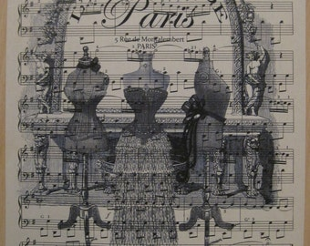 french market paris l'atelier french dress forms on vintage sheet music