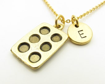 Muffin Pan Necklace, Bakers Necklace, Antique Gold Muffin Pan, Cupcake Pan, Chef Necklace, Personalized, Monogram, Initial Necklace  Z379