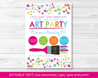 Art Party Birthday Invitation / Rainbow Art Party / INSTANT DOWNLOAD Editable PDF A215