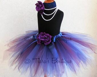 "Fall Tutu - Blue Violet - Purple Blue Custom Sewn 13"" Pixie Tutu - sizes newborn up to 5T - Beauty of Autumn Collection"