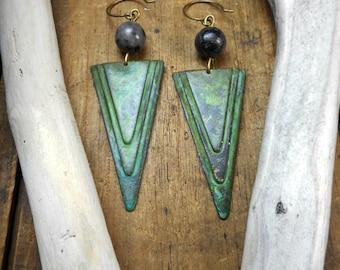 The Aztec Moon Earrings. Verdigris Long Geometric Triangle Art Deco Tribal elements & Larvikite (Black Labradorite) Orb earrings.