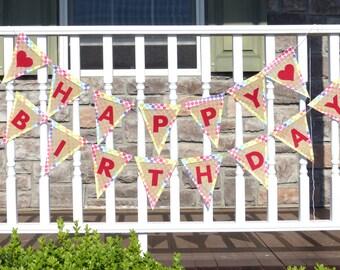 Happy Birthday Burlap Banner, Personalized, Fun, Unique - Birthday, Gift, Bedroom, Doorway, Photo Shoot, Special