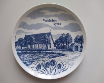 Veckholms kyrka wall pottery plate- ELGELG 1965 ceramic- Collectible Plate.