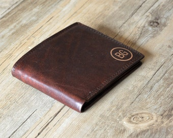 Personalized Leather Mens Wallet,Monogrammed Leather Wallet, Groomsmens Wallet Gift , Father's Day gift Wallet  ,Dark Brown,Wallet