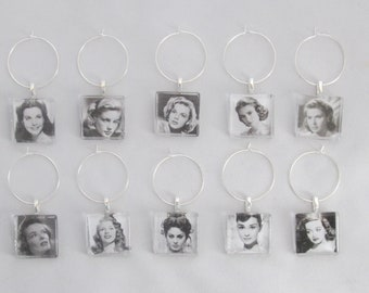 Wine Charms Old Hollywood -set of 10 or 20- wine tags, wine glass charms, wine glass markers, Audrey Hepburn, Lauren Bacall, Humphrey Bogart