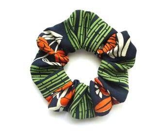 Green Hair Tie, Orange Scrunchies, Silk Scrunchies, Japanese Kimono Accessory, Gift for Her