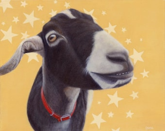 Goat Magnet - Black and White Goat Art - Funny Animal Magnet - Proceeds Benefit Animal Charity