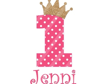 Birthday Girl Number Digital Download for iron-ons, heat transfer, Scrapbooking, Cards, Tags, DIY, YOU PRINT