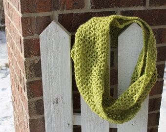 Olive/Green Crocheted Infinity Scarf